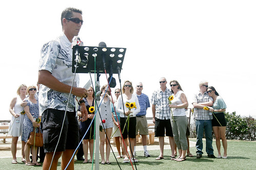 Jeff Martin speaks to reporters after fatal shark attack