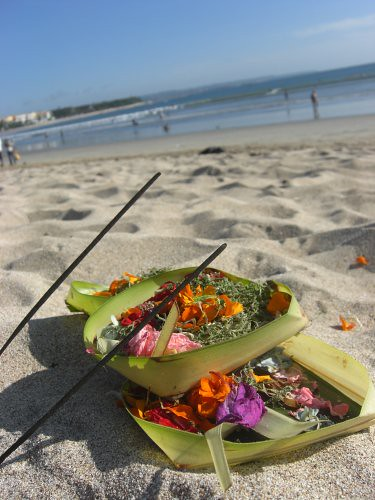 offerings on kuta beach, bali