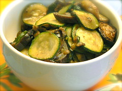 Korean Bibimbab - Zucchini and Aubergine