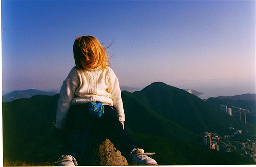 Sarah on top of the mountain in Tai Tam