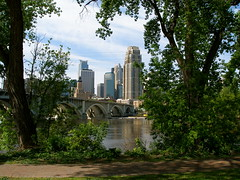 View of Minneapolis from St Anthony Main