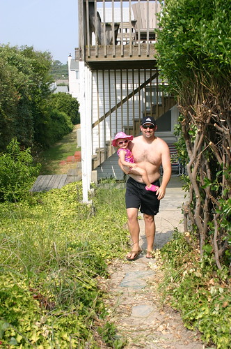Anna and Daddy walking to the beach