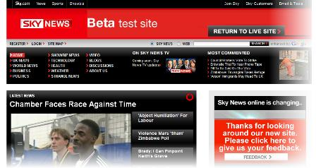 Sky News beta site