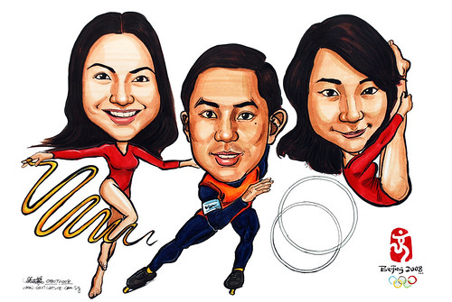 Group caricatures for Microsoft Marketing Team colour