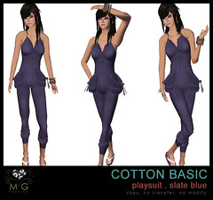 [MG fashion] Cotton Basic Playsuit (slate blue)