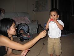 Playing a harmonica