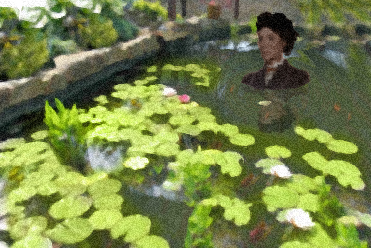 wading through the lily pond