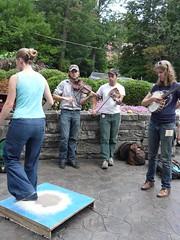 Greta Van Doren (dancing), Chance McCoy Andy Fitzgibbon, Anna Roberts-Gevalt (sprout333) Tags: summer festival singing banjo wv westvirginia fiddle elkins oldtimemusic augustaheritagecenter oldtimeweek