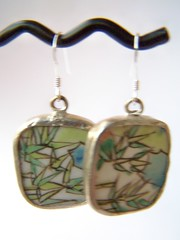 Bamboo - Earrings (polishedtwo) Tags: silver asian jewelry bamboo pottery sterling earrings porcelain shards fishhook polishedtwo