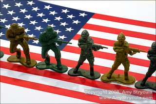 Line of Toy Soldiers on American Flag: Crisp Depth of Field