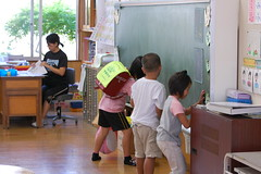Cleaning up the classroom (Mszczuj) Tags: school girls boy boys students girl japan children japanese tokyo student education classroom class cleaning clean learning okinawa schoolchildren higher institution achieve regimen