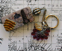 Italy Keychain (perpetualplum) Tags: travel rome collage altered hotel beads leaf keychain map mixedmedia stamp pisa domino recycle grape reuse repurpose wirewrapped