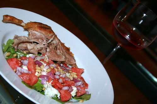 Roast Duck with Watermelon, Goat Cheese, Red Onion, Pine Nut and Argugula Salad