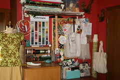 Sewing Room Makeover (Miss Atomic) Tags: county inspiration glass vintage table design junk market buttons sewing board jewelry retro fabric collections workroom workspace labels ribbon kane flea bowls bakelite crates artsandcrafts notions serger sewingroommakeover
