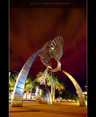 Metal Art :: Night Shot (:: Artie | Photography :: Happy 2016 !) Tags: sculpture metal architecture night photoshop canon lights design nightshot cs2 artistic tripod australia melbourne wideangle victoria structure 1020mm artie sigmalens 1xp singleraw nonhdr 400d rebelxti