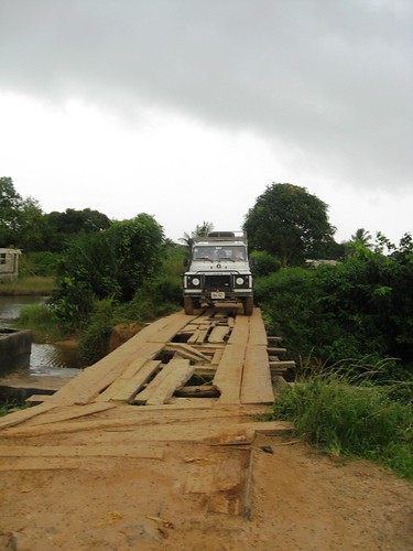 Land Rover on wooden bridge