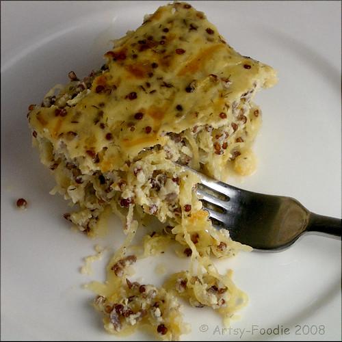 spaghetti squash quinoa on fork
