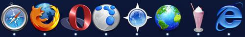 Iconos de los principales navegadores para Mac en un Dock repleto