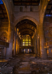 Gothic (Noel Kerns) Tags: city abandoned church night ruins first indiana gary methodist