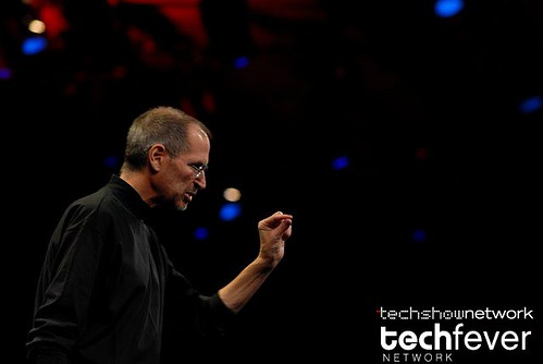 Apple CEO Steve Jobs showing the new Apple Macbook Air laptop series during his keynote address at Macworld 2008 by TechShowNetwork.