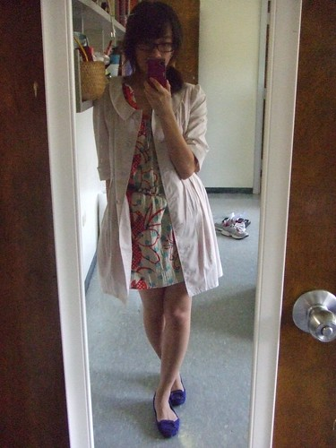 Floral Shift, a gift; Dress worn as trench, W Closet Wears Co. (JPN); Belt, Ellen Tracy; Blue Flats, Nine West