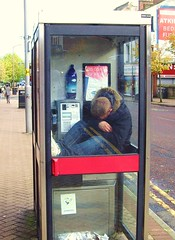 Cheaper than Travelodge (Tony Worrall Foto) Tags: street uk england urban funny phone northwest drink sleep candid north cider down lancashire preston operator telephonebox tramp downandout lancs