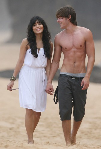 zac efron and vanessa hudgens at beach. vanessa hudgens and zac efron