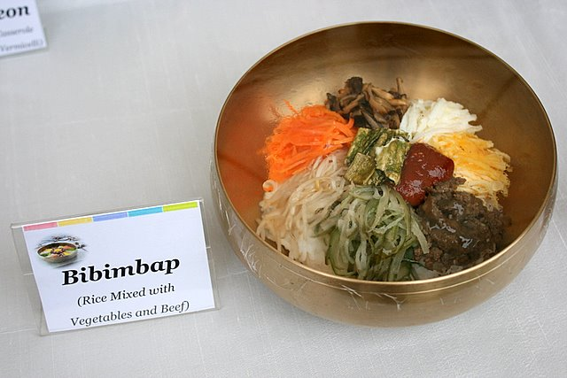 Bibimbap - rice mixed with vegetables and beef