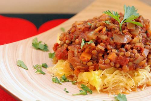 Lentil Bolognese with Spaghetti Squash