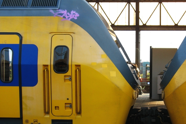 Modern Dutch Train at station in The Netherlands