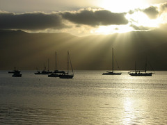 Akaroa, NZ (marion) Tags: nz nature newzealand akaroa boat silouette bateau mer sea harbour voilier sunset soleil rayons lumire light rays landscape paysage quiet calm peaceful scenery sailboat lpdarkness