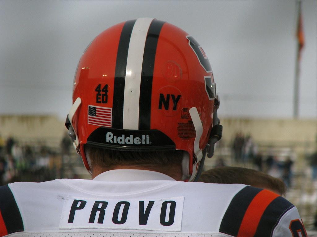Decals on Syracuse helmets