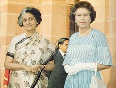 Late Prime Minister  Shrimathi Indira Gandhi with  Her Majesty Queen Elizabeth II during  Royal  visit to tour of India (1983) (South Asian Foreign Relations) Tags: india prime during tour elizabeth with royal queen ii gandhi 1983 minister indira