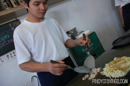 Okonomi-yaki in the making