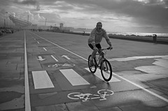 paths (5) (trazmumbalde) Tags: ocean street sea sky people bw sculpture mist signs storm man beach portugal wet weather bicycle fog clouds europe track path atlantic riding wrongway matosinhos pavment momment challengeyouwinner shechanges janetechelman