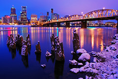 Snowfall in Portland (Jon Asay ) Tags: bridge snow night oregon river portland twilight nikon long exposure cityscape 1855mm snowfall hawthorne willamette eastbank  d40        jongetsgiddywhenitsnows