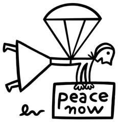 Peace parachute (dindolina) Tags: parachute paracadute woman girl donna peacenow peace pace paz paix frieden illustration illustrazione drawing disegno acrylic paper bw blackandwhite black white nero noir negro schwarz dindolina