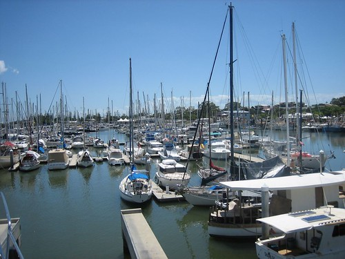 View of the marina from Sabbatical III while in the Travel Lift