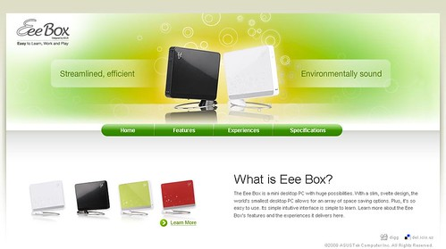Asus Eee Box microsite - Home Page