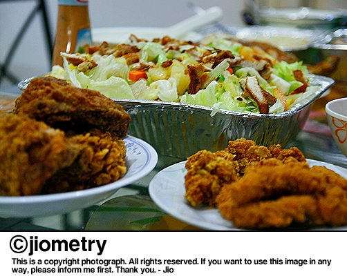 Salad and lots of fried chicken for Noche Buena