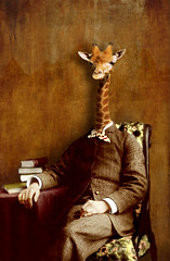 the elegant (Martine Roch) Tags: man fashion animal vintage costume antique portait surreal books suit photomontage elegant girafe handcoloured digitalcollage petitechose martineroch
