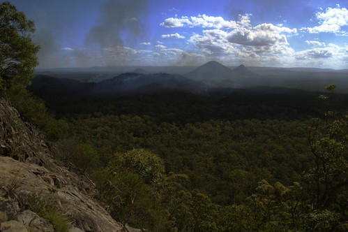 Smoke Over the Glass House Mountains