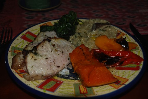 Roasted pork with chilli, risotto and veggies