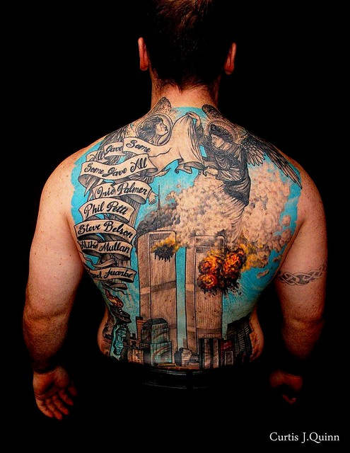 WTC 911 TATTOOS 043 By Curtis J.Quinn. Fire Fighter wears His Pride