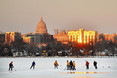 Pickup Game of Hockey on New Year's Eve (Madison Guy) Tags: winter snow ice hockey wisconsin capitol madison statecapitol lakemonona pickupgame brittinghambay portalwisconsinorgselected portalwisconsinorg010309