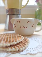 Stroopwafels and coffee (bunbunlife) Tags: new white yellow cookie day afternoon kitty pot caramel kawaii mug espresso neko belgian years doily waffle moka daiso zakka stroopwafels burbon dutchtreat caramelwafer caramelwaffle