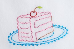 Yum! (Kimberly Ouimet) Tags: cake pattern hand stitch embroidery slice bigb