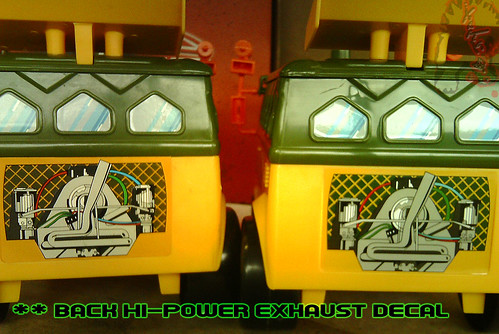 The tOkKa junkyard Car Show :: Classic Party Wagon vs. TMNT 25 Reissue //  Rear Exhaust decal
