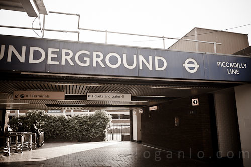 Underground Entrance at Heathrow Airport.