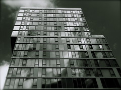 Cloud Face (robertvena) Tags: city nyc newyorkcity windows urban blackandwhite ny newyork reflection art glass architecture buildings landscape photography design cityscape manhattan steel structures scene architecturalelements robvena robertvena robertavena